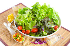 Hydroponics salad with topping Stock Photo