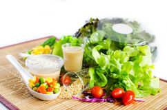 Hydroponics salad with topping Royalty Free Stock Photo