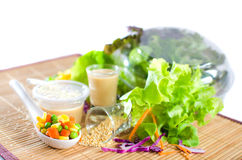 Hydroponics salad with topping Royalty Free Stock Image