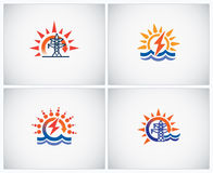 Hydropower and electricity. Set symbols on theme: hydro power and electricity. The in icons are combined symbols of water and energy, electricity Stock Images
