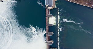 Hydropower Plant. Aerial shot. stock video