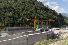 Hydropower plant construction site, Annapurna Region Stock Photos