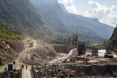 Hydropower plant construction site, Annapurna Region Stock Photography