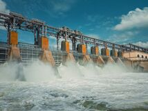 Free Hydropower Plant On The Nistru River In Dubasari Dubossary, Moldova. Hydro Power Station, Water Dam, Renewable Electric Energy Stock Photos - 188033953