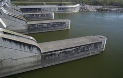 Hydropower station. Hydro power station at the danube in Vienna - Austria stock photo