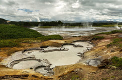Hydrothermal field in the Uzon Caldera. Kronotsky Nature Reserve Stock Images