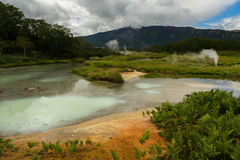 Hydrothermal field in the Uzon Caldera. Kronotsky Nature Reserve Royalty Free Stock Photography