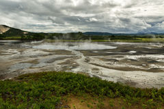 Hydrothermal field in the Uzon Caldera. Kronotsky Nature Reserve Royalty Free Stock Photo
