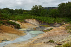 Hydrothermal field in the Uzon Caldera. Kronotsky Nature Reserve Stock Photo