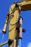 Hydrozylinder auf Bagger Arm Stockfotos