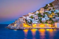 Hydry wyspa na lato nocy w Grecja Fotografia Stock