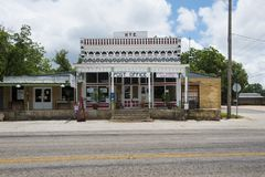 View of the general store and post office in the small town of Hye in Texas Royalty Free Stock Photos