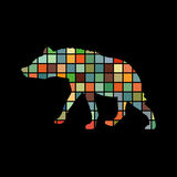 Hyena predator color silhouette animal. Vector Illustrator Royalty Free Stock Photo
