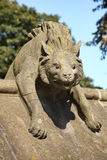 Hyena Sculpture, Animal Wall of Cardiff Castle. Cardiff, Wales, UK , September 14, 2016 :  Hyena Sculpture from the Animal Wall of Cardiff Castle in Castle Stock Photos