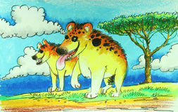 Hyenas in wild painting. Background royalty free illustration