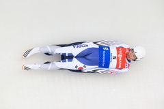 Hyeon Dong Kim - luge. Hyeon Dong Kim from South Korea in men's singles luge race held in Altenberg in Germany on 21.2.2015 Royalty Free Stock Photos