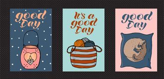 Cosy and cute vector set of cards. royalty free illustration