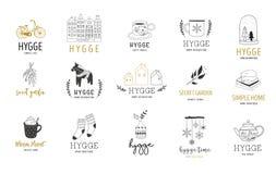 Hygge - απλή ζωή σε δανικά, συλλογή συρμένων των χέρι κομψών και καθαρών λογότυπων, στοιχεία ελεύθερη απεικόνιση δικαιώματος