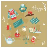 Hygge background with cozy things and elements. Danish living concept. Greeting card template Stock Photos