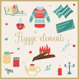 Hygge background with cozy things and elements. Danish living concept. Greeting card template Royalty Free Stock Images