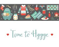 Hygge background with cozy things and elements. Danish living concept. Greeting card template Stock Images