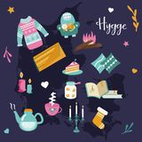 Hygge background with cozy things and elements. Danish living concept. Greeting card template Royalty Free Stock Photo