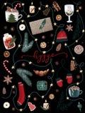 Hygge christmas collection of festive holiday items. raster seasonal christmas set with pine trees, santa`s socks, mittens etc stock illustration