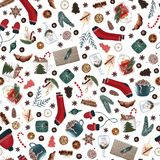 Hygge christmas seamless pattern with cute and cozy christmas items on a white background. dark xmas wrapping paper. stock illustration
