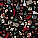 Hygge christmas seamless pattern with cute and cozy christmas items on a black background. dark xmas wrapping paper. vector illustration