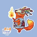Baby fox shaman with feather. Cute decorative patch in vector. Hygge fox character. Vector sticker. Cartoon ethnic style baby fox shaman with fire Stock Photo