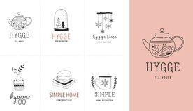 Hygge - Simple Life in Danish, collection of hand drawn elegant and clean logos, elements Vector Illustration