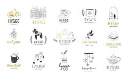 Hygge - Simple Life in Danish, collection of hand drawn elegant and clean logos, elements Royalty Free Illustration
