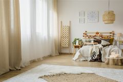 Hygge style bedroom interior royalty free stock photos