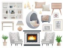 Hygge Style Elements Set Stock Image