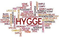 Hygge Wordcloud. Hygge Trend Concept Word Cloud Stock Image
