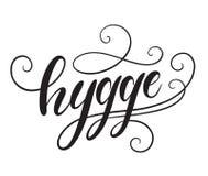 Hyggehand het van letters voorzien Vector illustratie Stock Foto