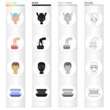 Hygiène, cosmétologie, médecine et toute autre icône de Web dans le style de bande dessinée Le solarium, bronzage, finance des ic Photo stock
