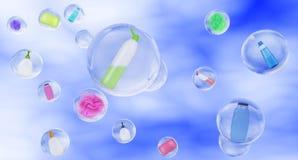 Hygiène dans des bulles de savon sur le concept de fond de ciel du lavage Photos stock