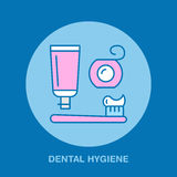 Hygiène de dent, brosse à dents, pâte dentifrice Dentiste, ligne icône d'orthodonties Signe de fil dentaire, éléments médicaux So Image stock