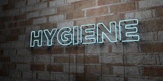 HYGIÈNE - Enseigne au néon rougeoyant sur le mur de maçonnerie - 3D a rendu l'illustration courante gratuite de redevance Photo stock