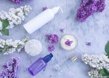 hygiène lilas de fleur crème cosmétique faite main sur le fond concret gris photos libres de droits