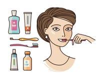 Hygiëne van mondholte Mooie meisje het borstelen tanden Tandpasta, tandenborstel, mondspoeling, persoonlijk hygiënepictogram of royalty-vrije illustratie