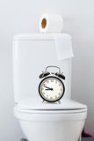 Hygiënisch document op witte toilettank stock afbeeldingen