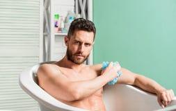 Hygi?nisch procedureconcept Totale ontspanning Het baden kan hartgezondheid verbeteren Persoonlijke hygi?ne Neem zorghygi?ne stock foto's