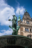 Hygieia Brunnen, Hamburg. Statue-fountain in the courtyard of ra Stock Photo
