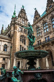 Hygieia Brunnen, Hamburg. Statue-fountain inside of the Rathaus Stock Images