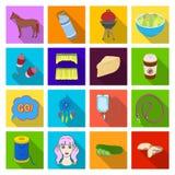 Hygien bantar, affären och annan rengöringsduksymbol i plan stil stenar yoga, vilar symboler i uppsättningsamling stock illustrationer