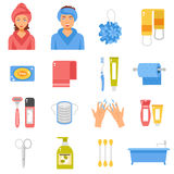 Hygiene Accessories Flat Icons Set Stock Photography