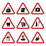 Hygiene, bacteria virus protection icons Stock Photos