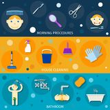 Hygiene Banners Set. Flat with morning procedures house cleaning bathroom isolated vector illustration vector illustration